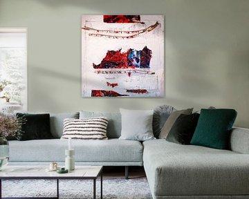 Collage mit farbigen Stöcken von Klaus Heidecker