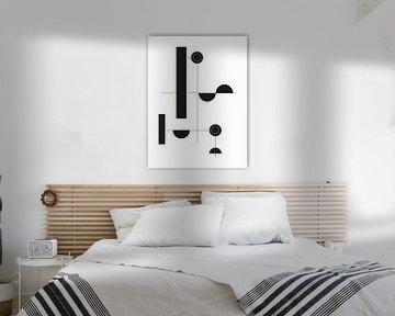 Zwart-wit Geometrische Print van MDRN HOME
