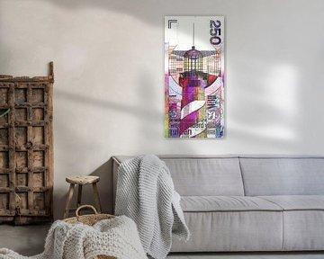 Bankbiljet van 250 Gulden Modern, Abstract Digitaal Kunstwerk van Art By Dominic