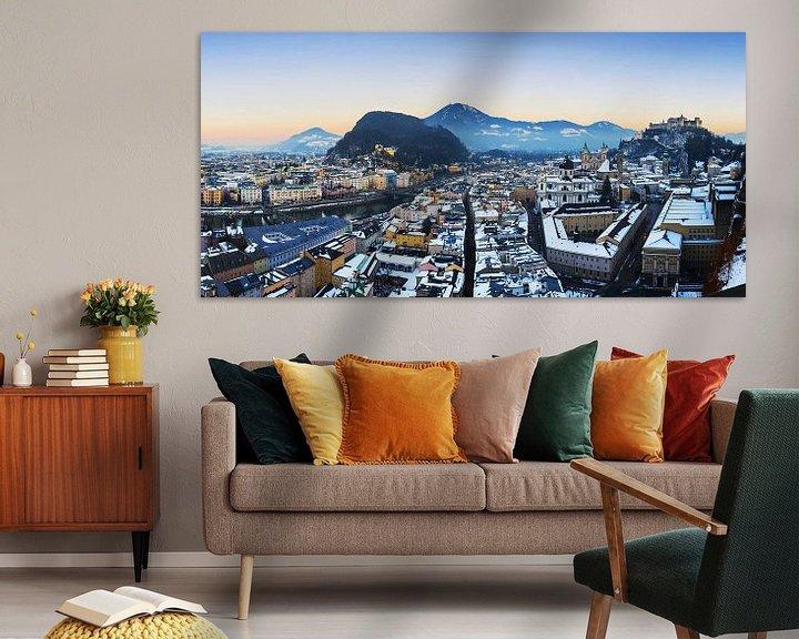 Sfeerimpressie: Salzburgse skyline bij zonsondergang van Frank Herrmann