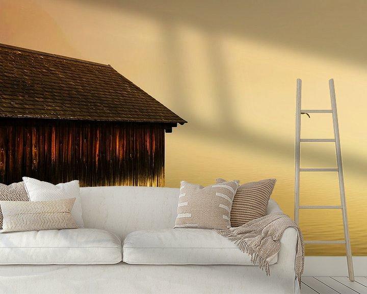 Sfeerimpressie behang: Boothuis zonsondergang van Frank Herrmann