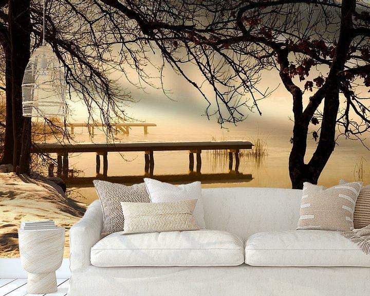 Sfeerimpressie behang: Winterlandschap aan het meer van Frank Herrmann