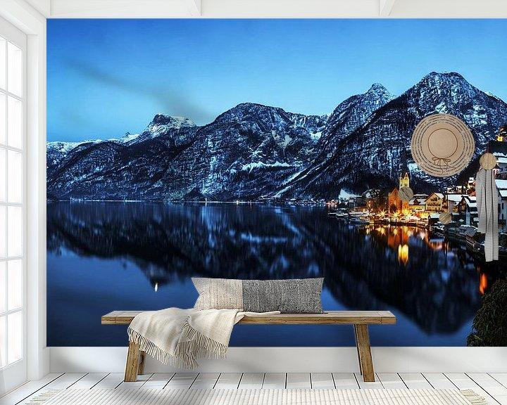 Sfeerimpressie behang: Hallstatt met alpenpanorama van Frank Herrmann
