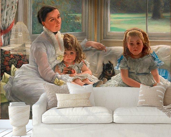 Beispiel fototapete: Porträt von Frau Catherine Smith Gill und zwei ihrer Kinder, James Tissot