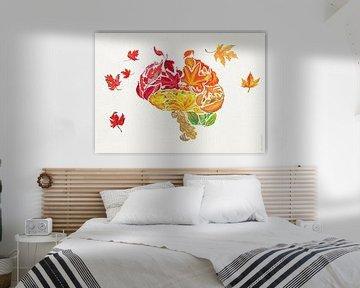 Poster mit Herbstblättern - Vergessen Sie mich nicht von Ilse Schrauwers, isontwerp.nl