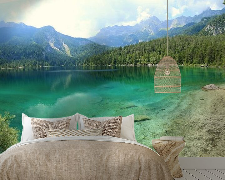 Sfeerimpressie behang: Bergmeer in de Dolomieten Italië van Jasper van de Gein Photography