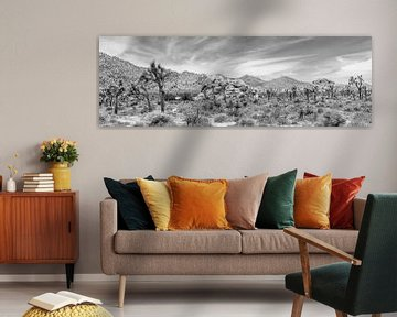 Joshua Tree National Park - Panorama Monochrom von Melanie Viola
