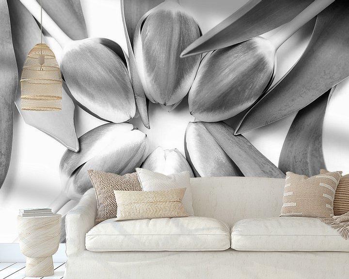 Sfeerimpressie behang: Tulpen in een cirkel van Ratna Bosch