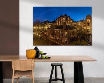 Vroeger stoombierbrouwerij De Boog, Oudegracht Utrecht in avondfeer. van André Russcher