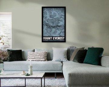 Mount Everest | Landkarte Topografie (Grunge) von ViaMapia