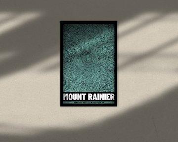 Mount Rainier | Landkarte Topografie (Grunge) von ViaMapia