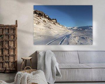 Wiel sporen bij een besneeuwde weg in Ijsland van Mickéle Godderis