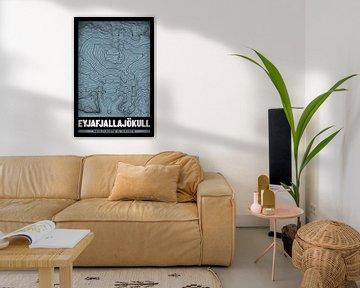 Eyjafjallajökull | Landkarte Topografie (Grunge) von ViaMapia