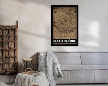 Snaefellsjökull | Landkarte Topografie (Grunge) von ViaMapia