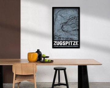 Zugspitze | Landkarte Topografie (Grunge) von ViaMapia