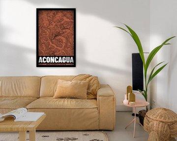 Aconcagua | Landkarte Topografie (Grunge) von ViaMapia