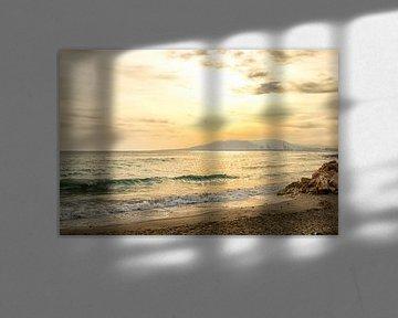 Zonsondergang op het strand van Malaga van Rick Van der Poorten