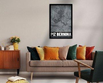 Piz Bernina | Landkarte Topografie (Grunge) von ViaMapia