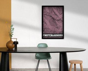 Finsteraarhorn | Landkarte Topografie (Grunge) von ViaMapia