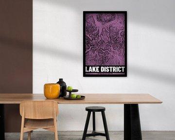 Lake District   Kaart Topografie (Grunge) van ViaMapia
