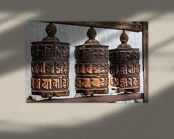 Gebedswiel in Kathmandu van Mickéle Godderis