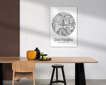 Gran Paradiso | Landkarte Topografie (Minimal) von ViaMapia