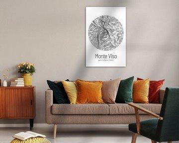 Monte Viso | Topographie de la carte (minimum) sur ViaMapia