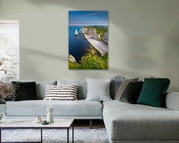 l'Aiguille in Etretat, Normandië, Frankrijk