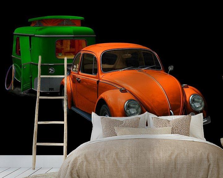 Beispiel fototapete: VW 1300 mit Eriba Familia Wohnwagen in green & orange von aRi F. Huber