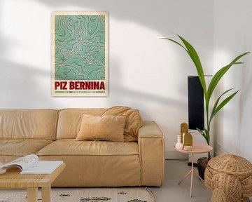 Piz Bernina | Landkarte Topografie (Retro) von ViaMapia
