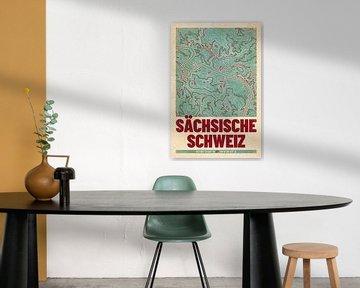 Sächsische Schweiz | Landkarte Topografie (Retro) von ViaMapia
