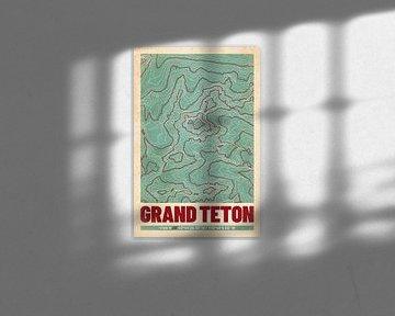 Grand Teton | Landkarte Topografie (Retro) von ViaMapia