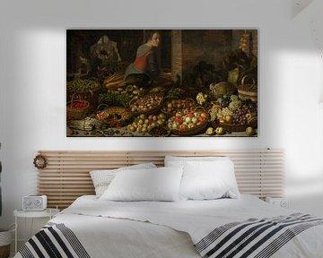 Stilleben mit Obst und Gemüse, mit Christus in Emmaus im Hintergrund, Floris van Schooten