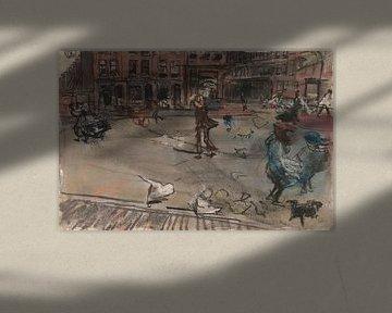 Windböe auf dem Dapperplein in Amsterdam, Isaac Israels