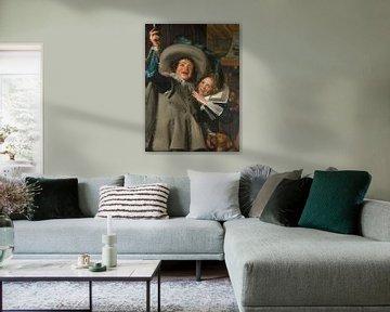 Jonge man en vrouw in een herberg, Frans Hals - 1623