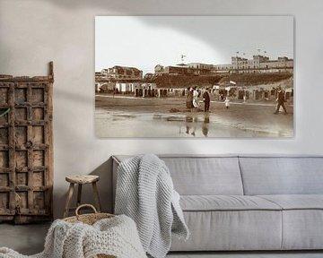Der Strand in Zandvoort mit Strandkörben und Hotel d'Orange, Knackstedt & Näther, 1900 - 190