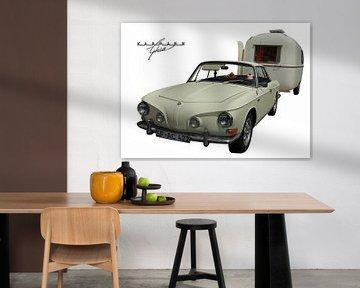 VW Karmann-Ghia (Type 34) met Fathi-caravan (originele kleur) van aRi F. Huber