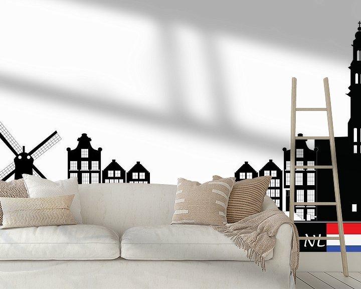 Beispiel fototapete: zeichnung der skyline von amsterdam von Compuinfoto .