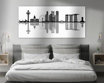 skyline singapour, ville d'asie avec ses gratte-ciel et ses hôtels