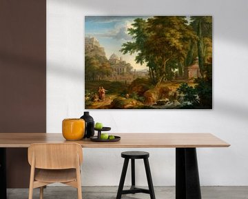 Arkadische Landschaft mit den Heiligen Petrus und Johannes, die den Lahmen heilen, Jan van Huysum