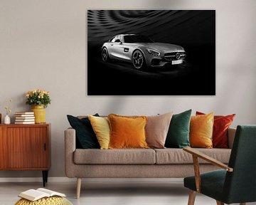 Mercedes SL-Coupé supercar in Schwarz-Weiß