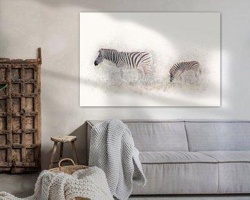 """""""Zebra moeder en kind in de avondzon"""" - Photography & Art van - GreenGraffy -"""