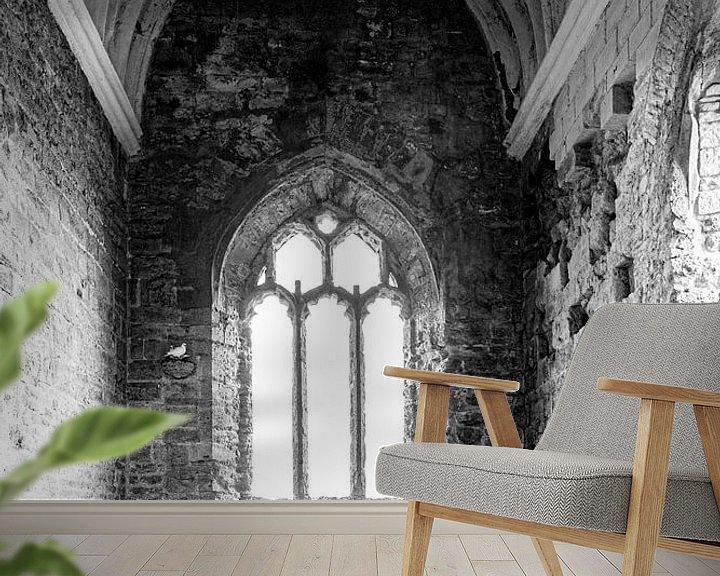 Sfeerimpressie behang: Tortelduifjes in zwart wit van Anneke Hooijer