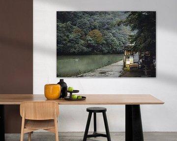 Regenachtige dag bij een restaurant in Arashiyama in Kyoto van Mickéle Godderis
