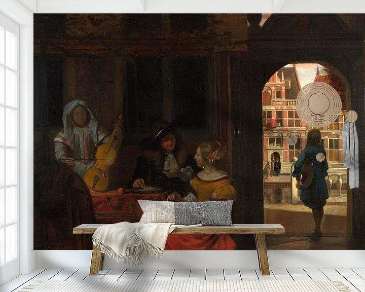 Beispiel fototapete: Eine Musikalische Party in einem Hof, Pieter de Hooch