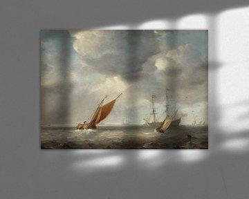 Kleine niederländische Schiffe im Wind, Studio von Willem van de Velde