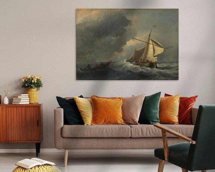 Sfeerimpressie: Een Nederlands schip in een sterke wind, Willem van de Velde
