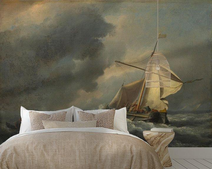 Sfeerimpressie behang: Een Nederlands schip in een sterke wind, Willem van de Velde