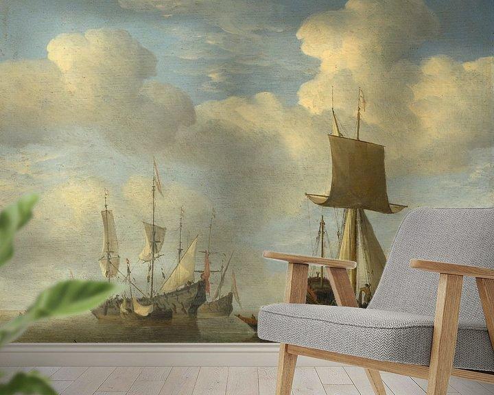 Beispiel fototapete: Ein englisches Schiff und niederländische Schiffe werden beruhigt, Willem van de Velde