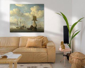 Ein englisches Schiff und niederländische Schiffe werden beruhigt, Willem van de Velde